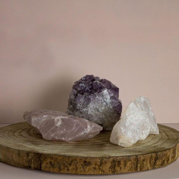 gouden driehoek bergkristal amethist rozenkwarts ruw