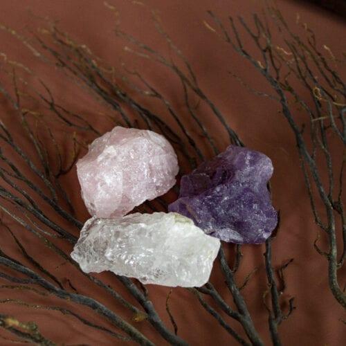 gouden driehoek bergkristal amethist rozenkwarts