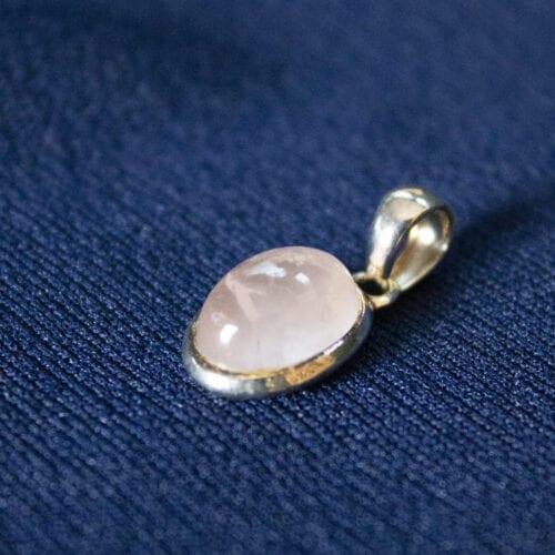 925 sterling zilveren unieke edelsteen rozenkwarts hanger
