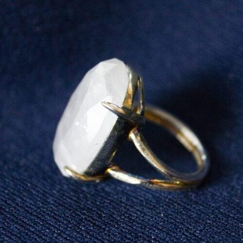 925 sterling zilveren unieke edelsteen bergkristal ring