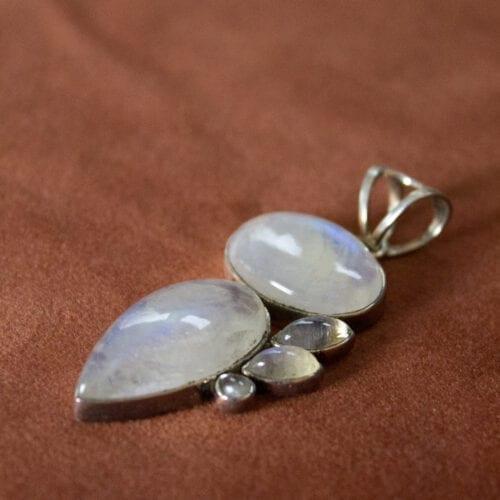 925 sterling zilveren unieke edelsteen maansteen hanger