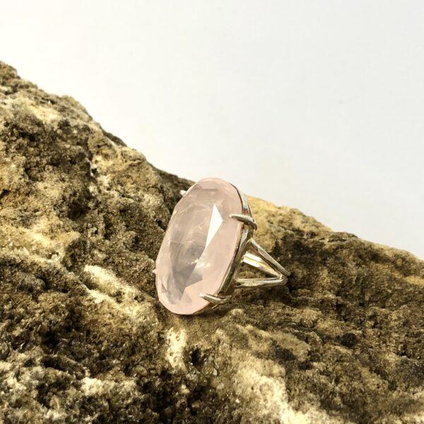 Rozenkwarts Ring 925 sterling zilver sieraad